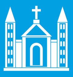Christian catholic church building icon white vector