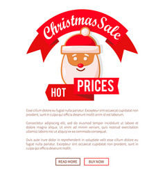 christmas sale hot prices web poster santa head vector image
