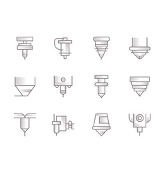 Cnc lasers vintage icons set vector