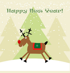 cristmas funny deer with snowflakes new year vector image