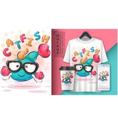 Cute catfish poster and merchandising vector