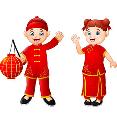 cute chinese children cartoon vector image