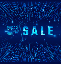 cyber monday sale abstract circuit texture vector image