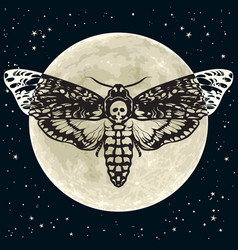 Death head hawkmoth on the full moon and night sky vector