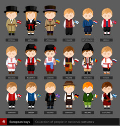 european boys in national dress with flag vector image