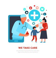 Family doctor online medicine vector