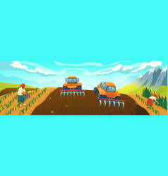 farm field with plowing tractor and farmers work vector image