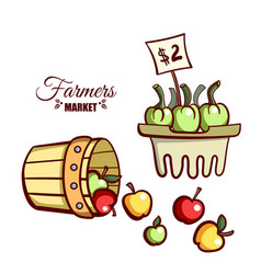 farmers market apples vegetables vector image