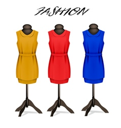 Fashion background with colorful dresses vector image