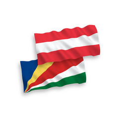 Flags austria and seychelles on a white vector