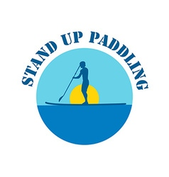 Flat design style of stand up paddle logotyp vector