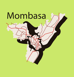 Flat line art design - mombasa city map vector