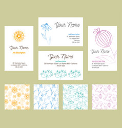 floral business card template and patterns vector image