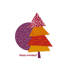 funny colorful cute xmas tree card template vector image