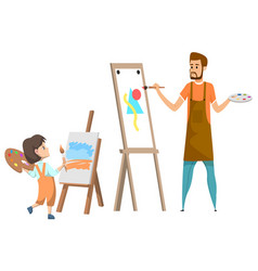 girl in art club drawing paintings with teacher vector image