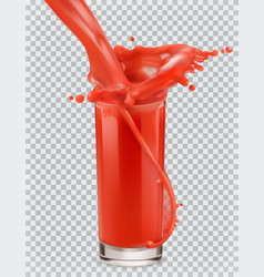 Glass of red juice and a splash tomato vector