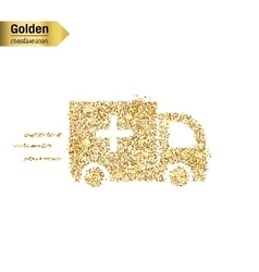 Gold glitter icon of ambulance isolated on vector