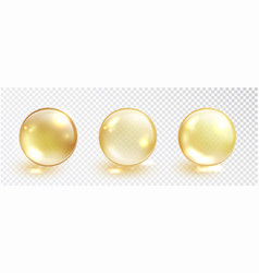Gold oil bubble set isolated on transparent vector