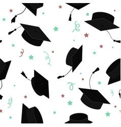 Graduate caps in air seamless pattern vector