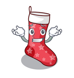 Grinning cartoon christmas socks for gifts vector