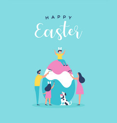 Happy easter card family painting egg together vector