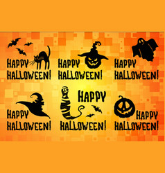 happy halloween title set with pumpkin witch hat vector image