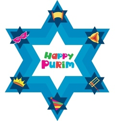 Happy Purim David star with objects of jewish vector image