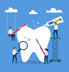 healthy tooth brushing toothbrush and toothpaste vector image