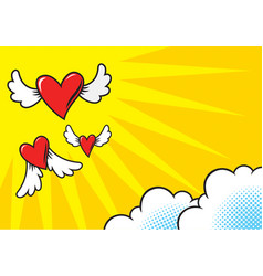 heart shaped comics flying vector image