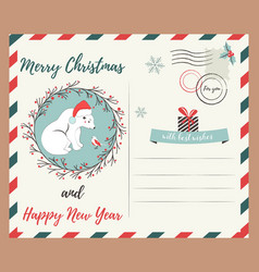 holiday greeting postcard with polar bear and bird vector image