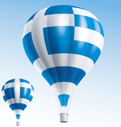 Hot balloons painted as Greece flag vector image