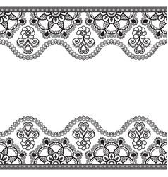 Indian mehndi henna line lace border element with vector