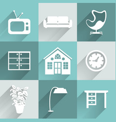 Interior furniture icons set vector