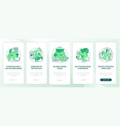 Intermittent fasting tips green onboarding mobile vector