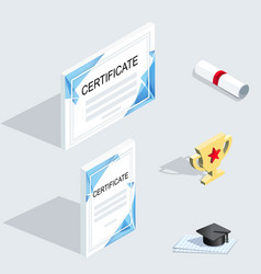 isometric icons official whitecertificates with vector image