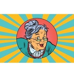 Joyful intelligent grandmother pop art vector