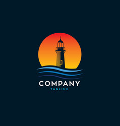 Lighthouse water waves with sunset logo vector