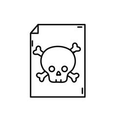 Line danger skull bones alert inside paper vector