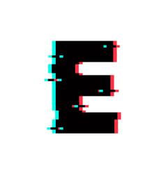 Logo letter e glitch distortion vector
