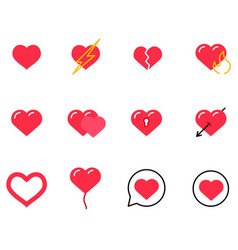 Love line icons heart valentines day and vector