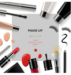 Makeup template with collection of make up vector image