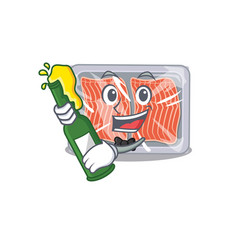 Mascot character design frozen salmon say vector