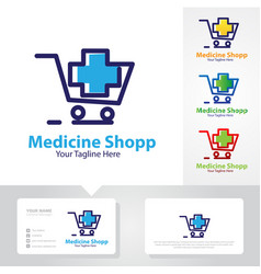 medicine shop logo designs vector image
