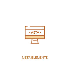 Meta elements concept 2 colored icon simple line vector