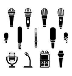 Microphone types black icons set vector