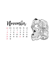 Monthly desk calendar template for month november vector