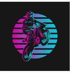 motocross sunset retro vector image