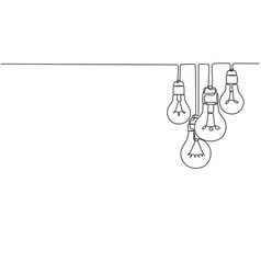 one continuous line drawing hanging lightbulbs vector image