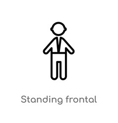 Outline standing frontal man icon isolated black vector