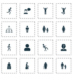 person icons set with human subordination mother vector image